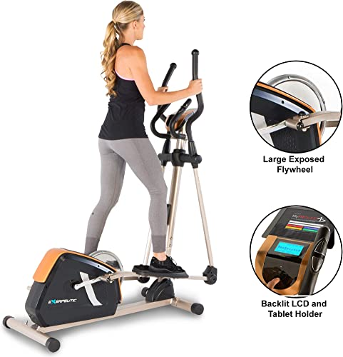 Exerpeutic 2500 Bluetooth Smart Technology Exposed Flywheel Elliptical Trainer with 16 Levels of Magnetic Tension