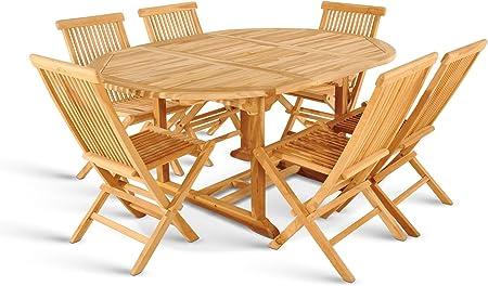 XXS ® de 7 meubles de jardin borneo 6 chaises pliables en ...