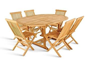 AuBergewohnlich XXS® Möbel Gartenmöbel Set Borneo 7tlg Sechs Praktische Klappstühle Menorca Holz  Tisch Ausziehbar Mit Schirmloch
