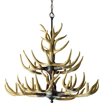 Twelve Light Deer Antler Chandelier Lighting