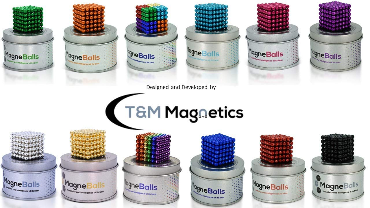 MagneBalls 5MM Magnetic Ball Set Perfect for Jewlery, Crafts, Education and Intelligence Development- Desk Sculpture Toy Provides Relief for Office Stress, ADHD, Autism, and Anxiety (Rainbow) by MagneBalls (Image #7)