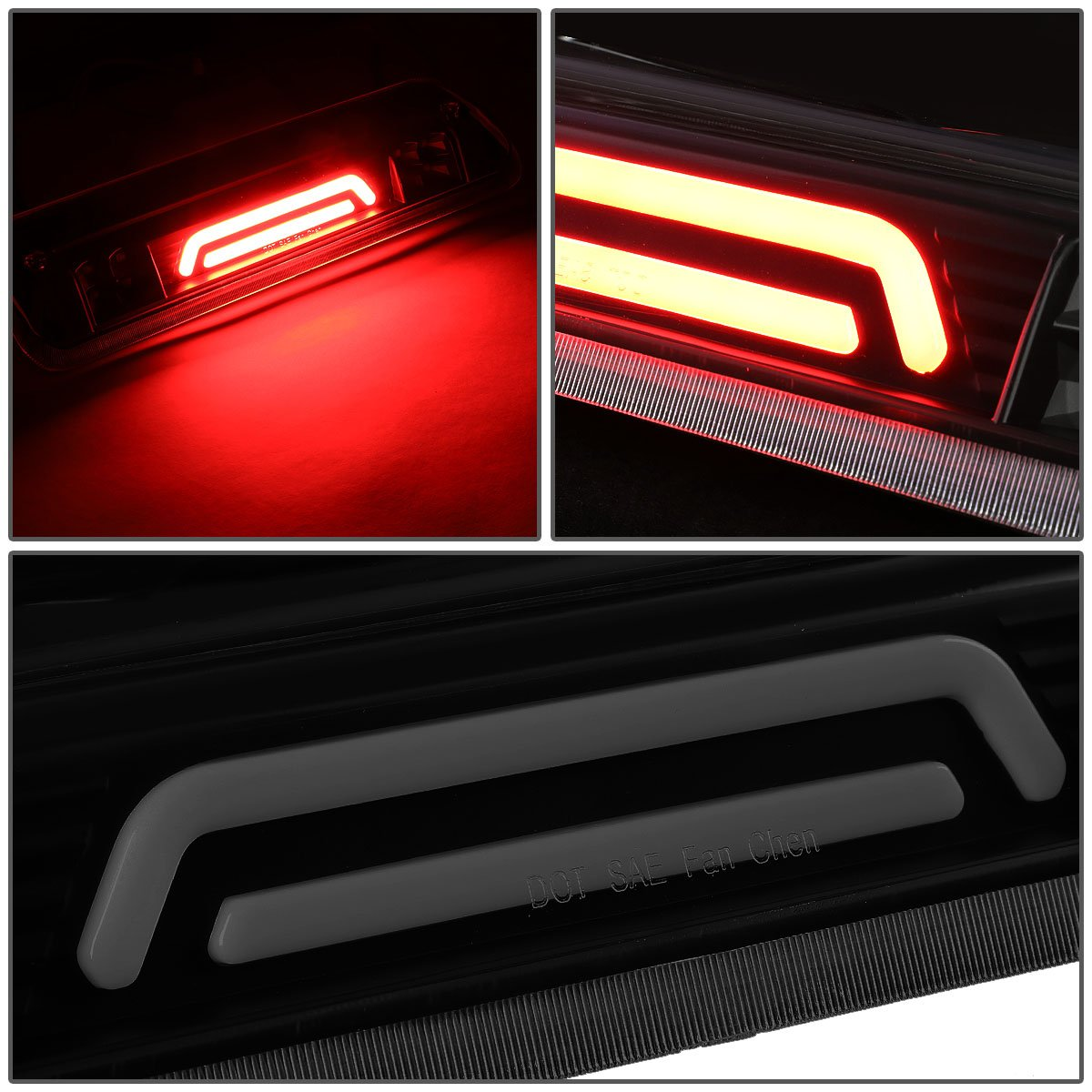 4th For Ford Explorer Sport Trac//F-150 3D LED Light Bar Third Brake Lamps Chrome Housing//Clear Lens