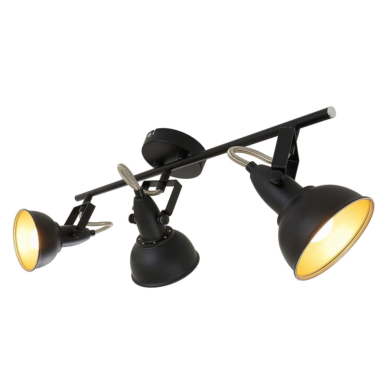 Briloner Leuchten 2049-035 Plafonnier 3 spots pivotants - luminaire style vintage - métal noir & or mat - 3 douilles E14-40 W max. - 55.4 x 10 x 18.1 cm
