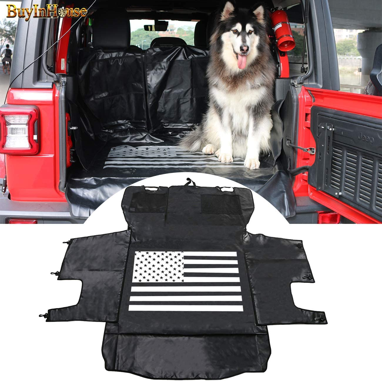 RONGZHI Cargo Liner for Dogs │ Car Seat Covers for Dogs │ Seat Protector for Jeep Wrangler JK 4-Door 2007-2017 Waterproof Hammock Style Heavy Duty Pet Carseat Cover for Back Seat