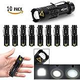 10 Pack Mini Flashlights LED Flashlight 300lm Adjustable Focus Zoomable Light (Black)