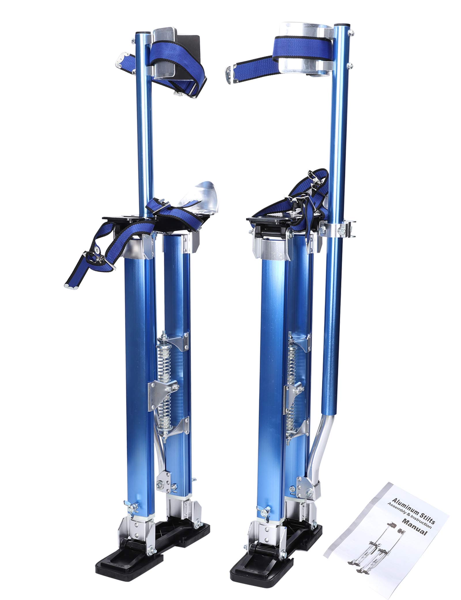 BLACKHORSE-RACING 24 inch -40 inch Professional Grade Adjustable Drywall Stilts Taping Paint Stilt Aluminum Tool Stilt for Painting Painter Taping Blue
