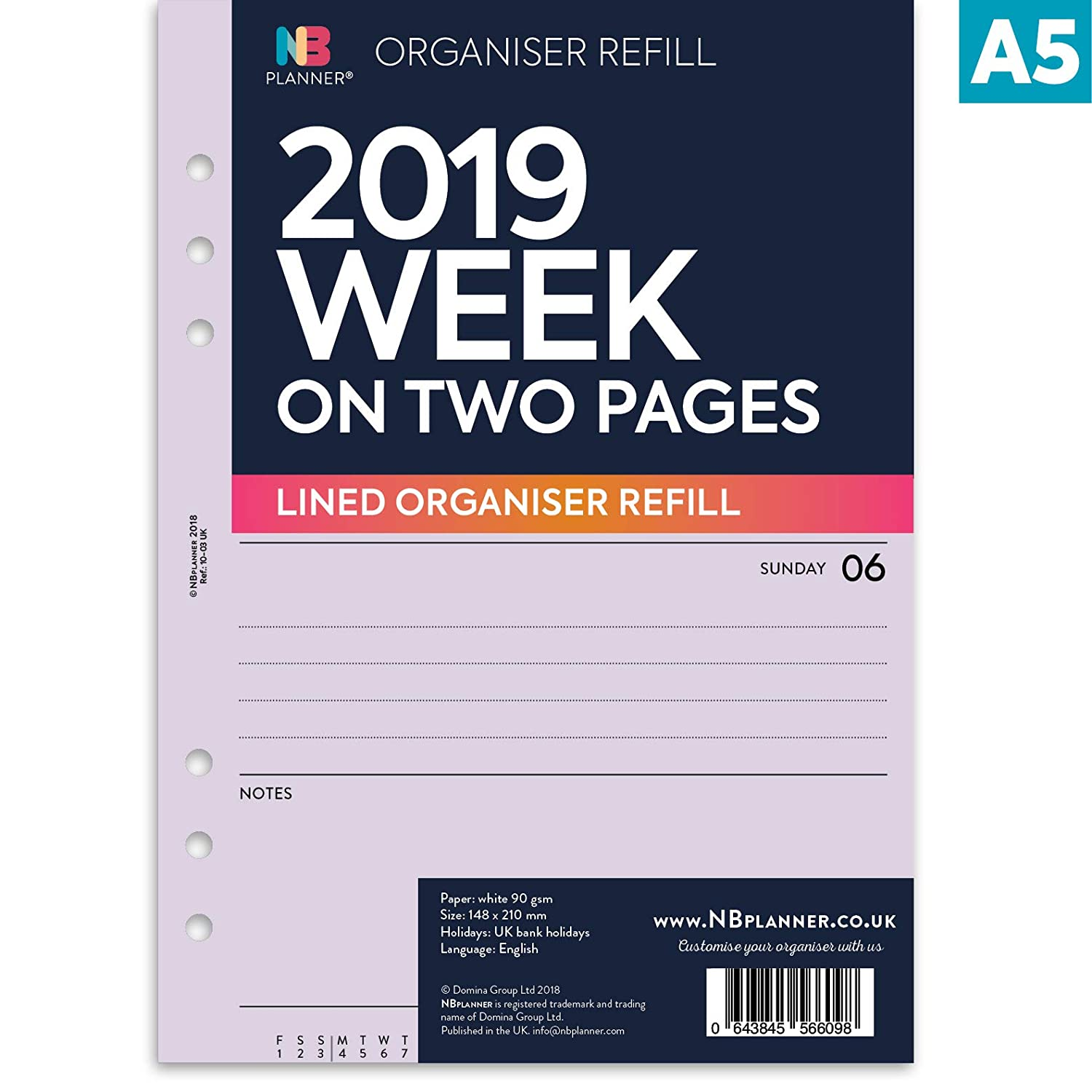 NBplanner® 2019 Week on Two Pages A5 Lined Planner Organiser Refill English Diary 6-Ring A5 Binder Compatible Insert (Apricot) Domina Group Ltd