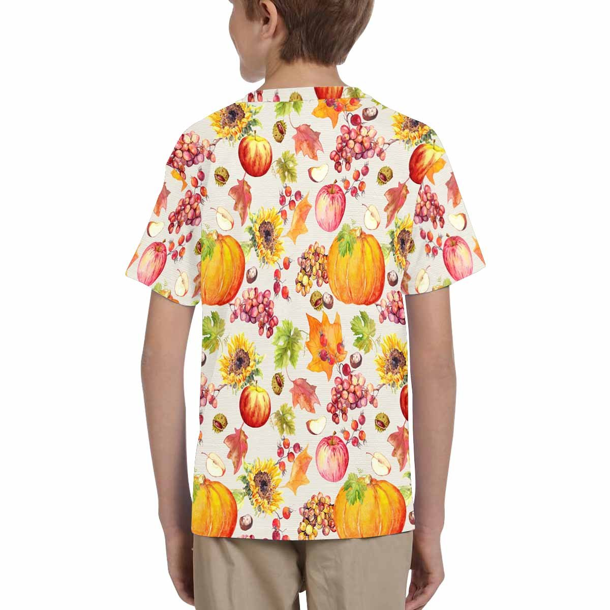 INTERESTPRINT Kids T-Shirts Fruits and Vegetables with Autumn Leaves Watercolor XS-XL