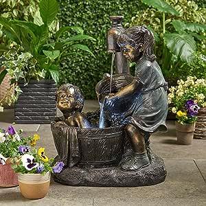 wastreake Boy & Girl Garden Statues, Outdoor Floor Water Fountain Yard Art Decoration, Sculpture for Yard Garden Patio Deck Home
