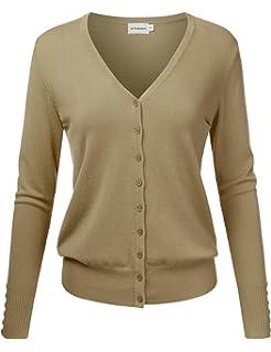 27d9c04d21 JJ Perfection Women s V-Neck Button Down Long Sleeve Knit Cardigan Sweater