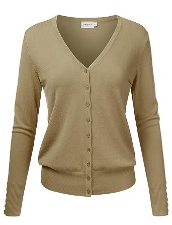 231c7d2d14 JJ Perfection Women s V-Neck Button Down Long Sleeve Knit Cardigan Sweater  Camel S