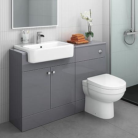 1100mm Combined Vanity Unit Toilet Basin Grey Bathroom Furniture Storage Sink