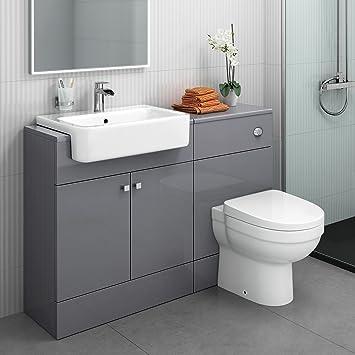 1160 mm Modern Gloss Grey Bathroom Door Vanity Unit Basin Sink + ...