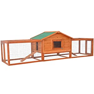 "PawHut 122"" Outdoor Wooden Rabbit Hutch"