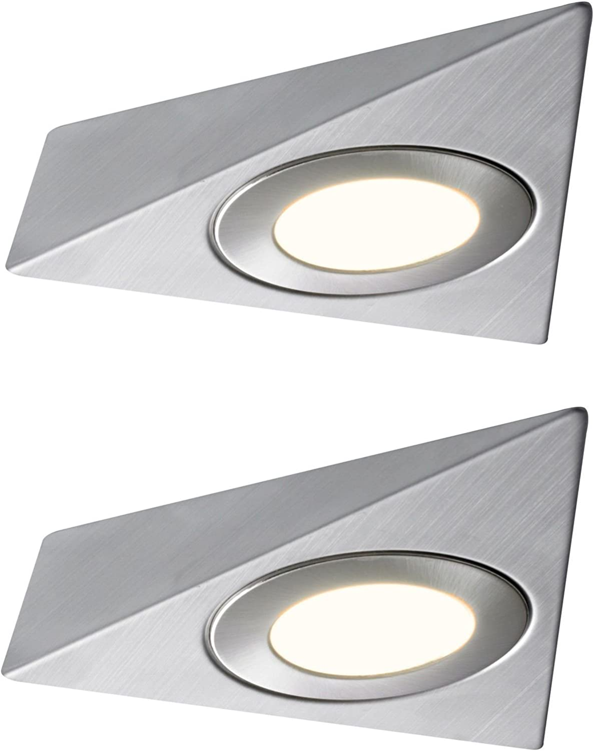 2x Triangle Led Light Under Kitchen Cabinet Cupboard Warm White Mains Kit UK