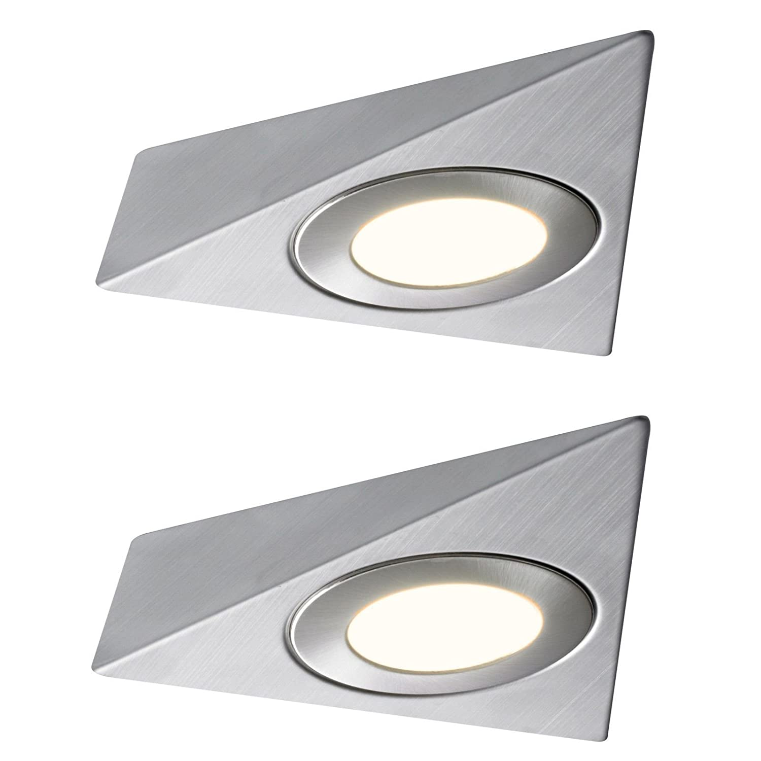 2 X LED TRIANGLE LIGHT MAINS KITCHEN UNDER UNIT CABINET CUPBOARD WARM WHITE Lighting Innovations
