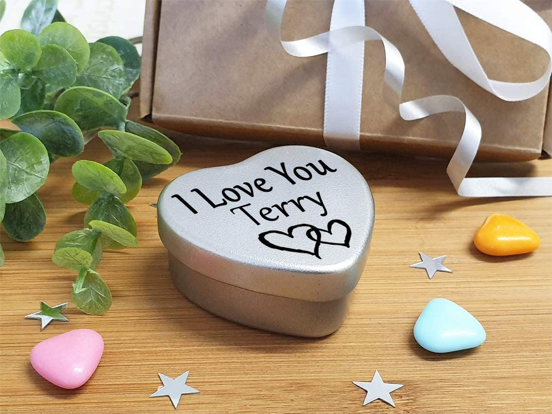 I Love You Terry Mini heart shaped silver gift tin filled with mini chocolates Great as a birthday present or a gift to show someone special how much you love them
