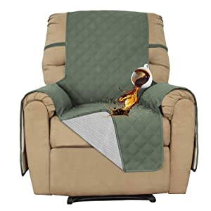 Easy-Going Recliner 100% Waterproof Sofa Cover Furniture Protector Couch Cover Pets Covers Whole Fabric No Stitching Slip Resistant Non-Slip Fabric Pets Kids Children Dog Cat (Recliner,Greyish Green)