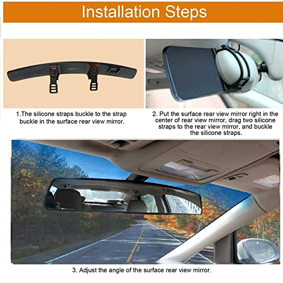 Rear View Mirror Wide Angel Rearview Mirrors Universal Rear View Mirror Panoramic Rearview Mirror Extender Large Rear-view Mirror Accessories Clip on Mirror for Blind Spots 17.7 inch Baby Car Mirror