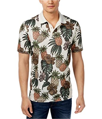 Tasso Elba Mens Pineapple Rugby Polo Shirt Beige L At Amazon Men S