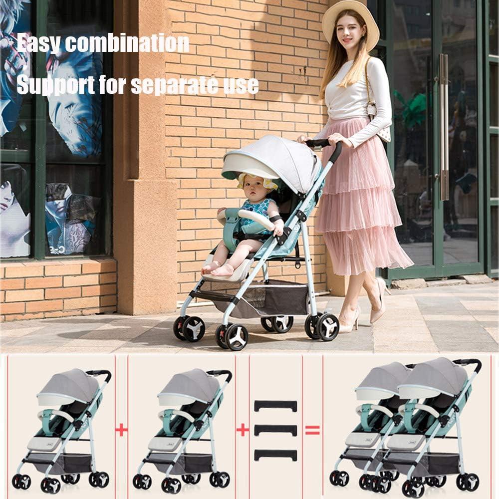 Side-by-Side-Kinderwagen Mit Ablagekorb Sicherheit,Green Twin Tandem-Kinderwagen Mit Verstellbarer R/ückenlehne Saturey Geschwisterwagen Baby Und Kleinkind