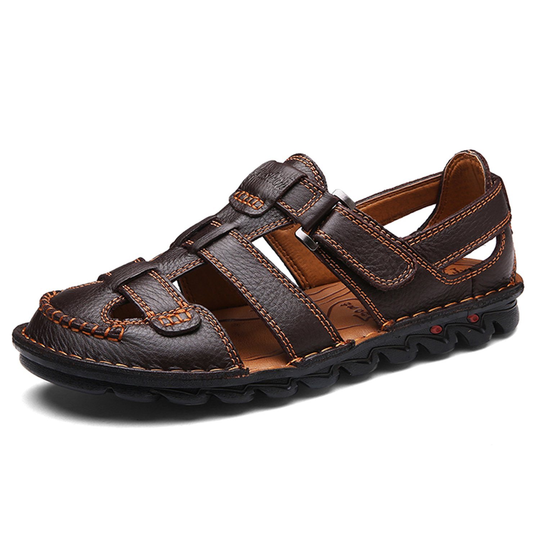 BARKOR Men's Closed Toe Fisherman Sandal Summer Casual Leather Shoes Large Size