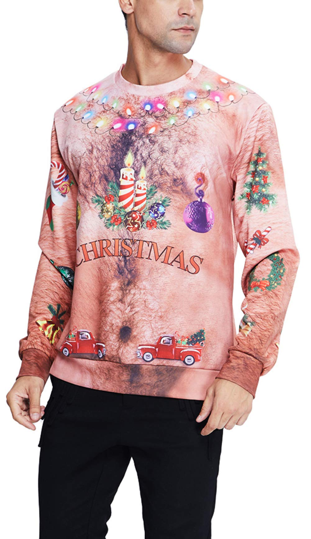 Goodstworld Funny Christmas Hairy Chest Sweater Cool Brown Novelty 3D Xmas Light Necklace Print Pullover Sweater Shirts Blouse Ugly Graphic Xmas Sweatshirts for Xmas Party Large