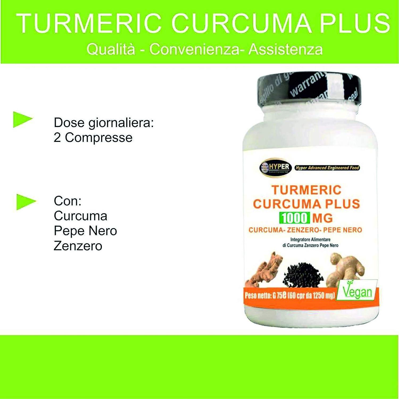 Turmeric Cúrcuma 1000mg La Curcumina + Piperina + Jengibre 60 Comprimidos Quemador de Grasa Alta Dosis | Extractos Secos Pimienta Negra 95% Certificado La ...