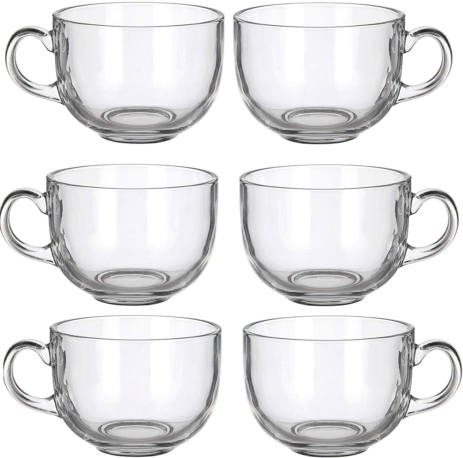 Set of 6 Large 16oz Glass Wide Mouth Coffee Mug Tea Cup With Handle - Dishwasher & Microwave Safe