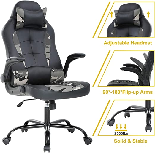 High-Back Gaming Chair PC Office Computer Racing PU Desk Task 360 Degree Swivel
