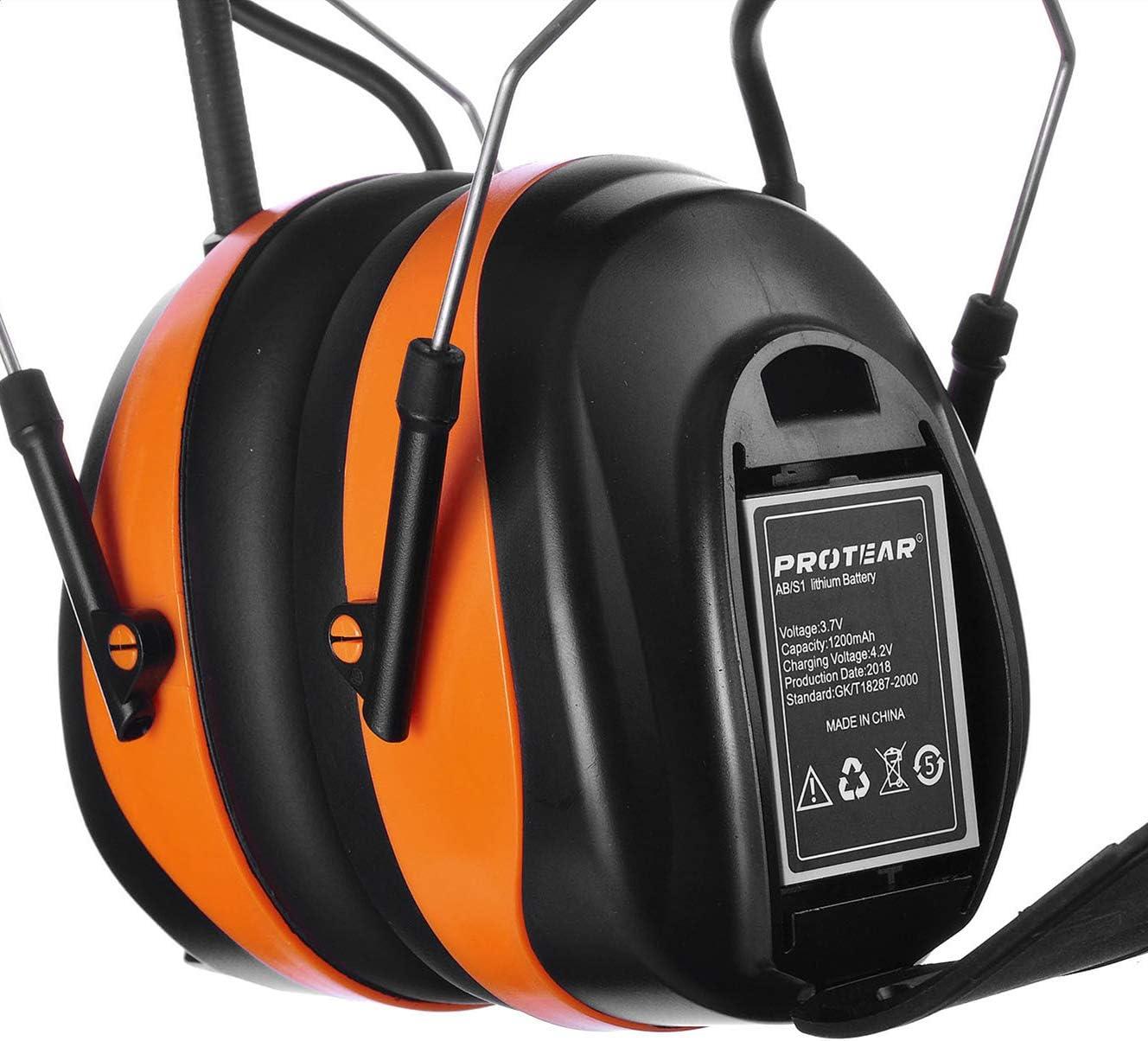 PROTEAR Auriculares de Seguridad Recargables con reducci/ón de Ruido electr/ónico SNR de 30 dB para cortac/ésped y cortac/ésped