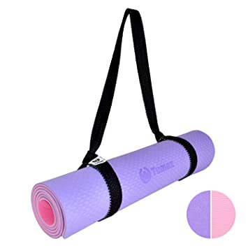 Tumaz Yoga and Pilates Mat with Premium Carrying Strap, Non-Slip and Eco-Friendly TPE Material, Size...