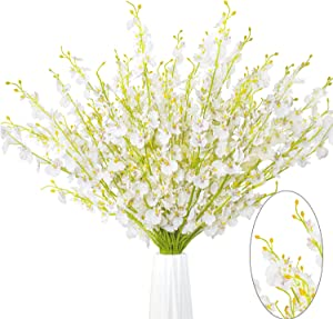 """MISSWARM 10 Pieces 37.7"""" Long of Orchid Dancing Lady Butterfly Artificial Flower Artificial Flowers Fake Flower for Wedding Home Office Party Hotel Restaurant Patio or Yard Decoration(White)"""