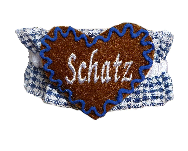 Knöchelband Tracht Blau kariert mit Namen - INDIVIDUELL BESTICKT - Fußband Oktoberfest Bayern