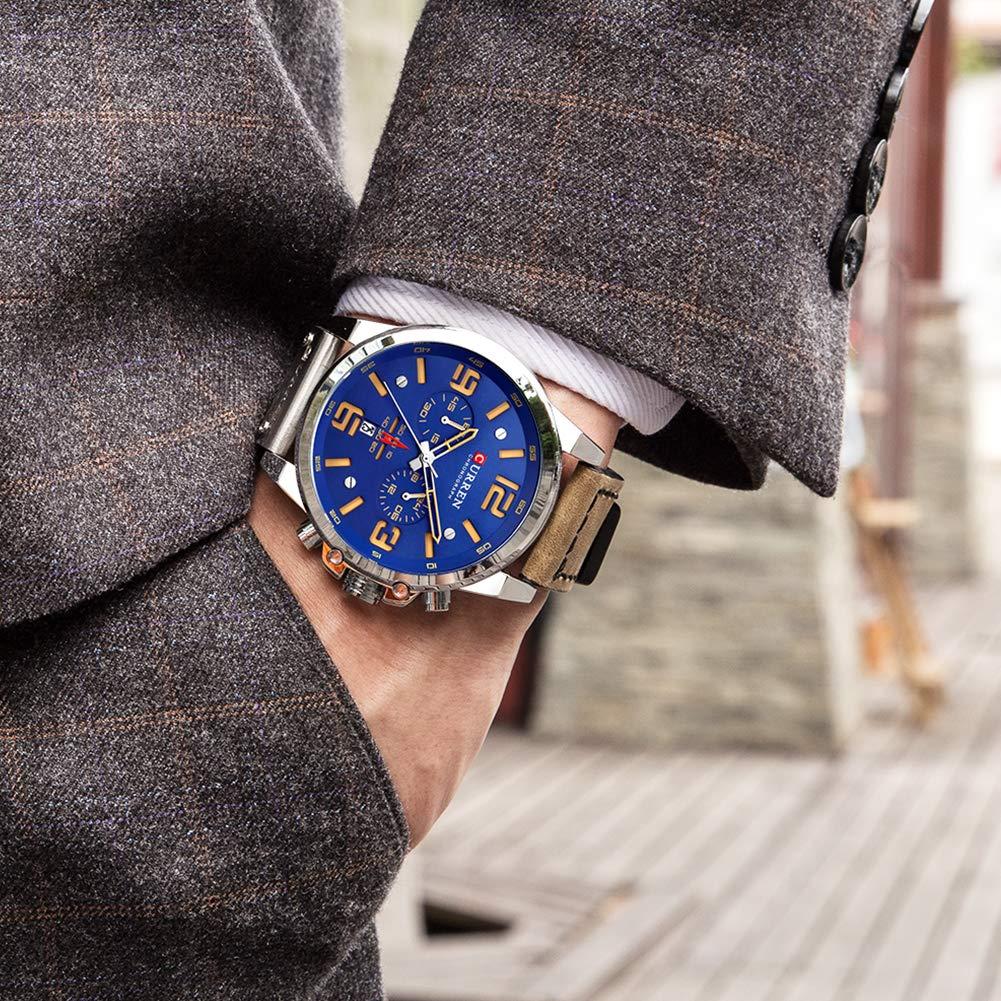 Curren Herren Uhren, Casual Chronograph Quartzuhr, Multifunktionale Militär Sport Armbanduhr, Wasserdicht Lederarmband mit Datumsanzeige (Blau)