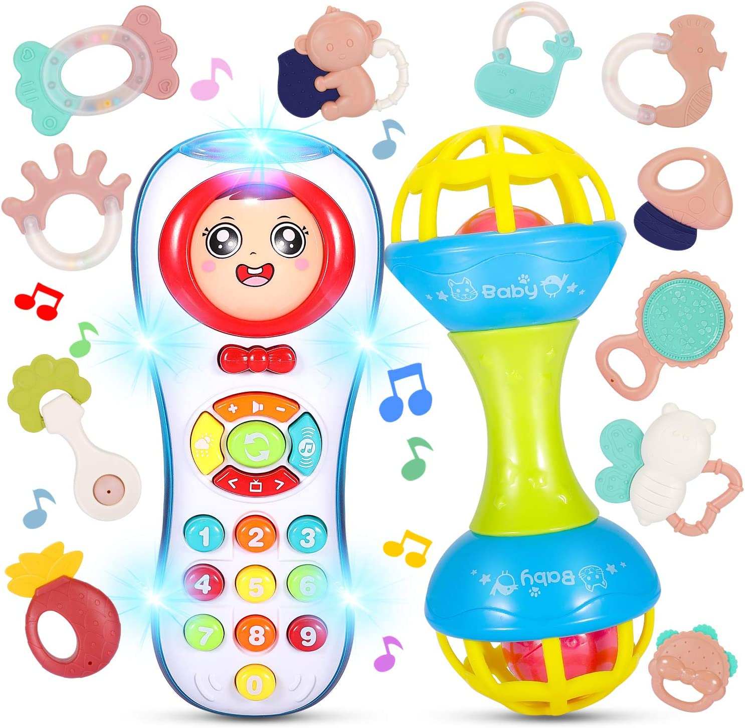 Learning Toys Gift for 6 12 Month Baby Infant Boy Girl 8 7 9 INTMEDIC Baby Rattle Set Toys 5 Pc Toddler Bear Musical Toy Rattles for Babies Set Shaker Grab Spin Roll Rattle Ball 10