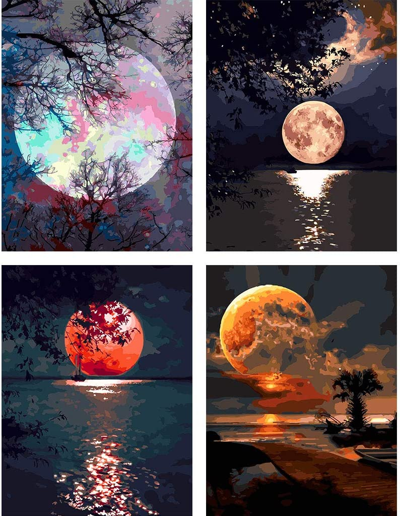 """COLORWORK DIY Paint by Numbers, Canvas Oil Painting Kit for Kids & Adults, 12"""" W x 16"""" L Drawing Paintwork with Paintbrushes, Full Moon 4 PCS Set"""