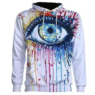 Domybest Mode Männer Hooded 3D Print Farbe Augen dünne Sweatshirts Pullover  (XL) 4ada31b5bf