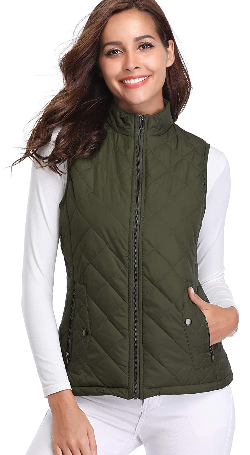 Argstar Womens Stand Collar Lightweight Padded Zip Vest Quilted Gilet Clearence