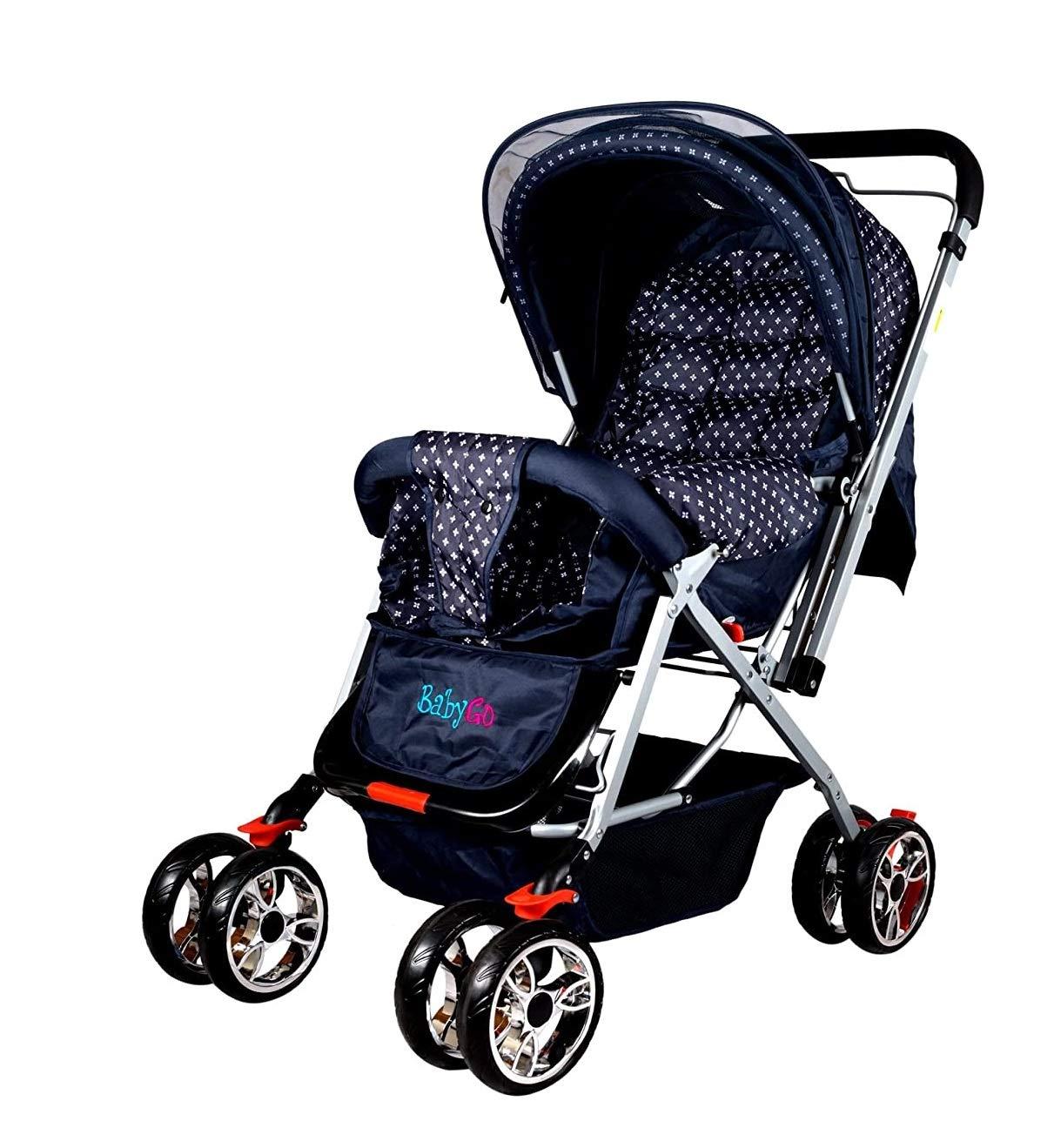 BabyGo Delight Reversible Baby Stroller & Pram with Mosquito Net, Mama Diaper Bag & Wheel Breaks (Navy Blue)