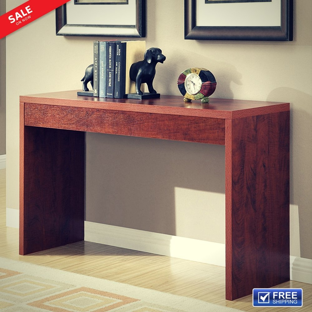Hallway Console Table Narrow Entryway Foyer Accent Entry Console Home Sleek Furniture Transitional Style and Functionality Unique Contemporary Design Cherry Wood Grain Finish & eBook by BADA shop