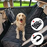ROYI Dog Car Seat Cover, Waterproof Durable Oxford Cloth 4 Layers Waterproof PU Dog Seat Cover with Seat Belt and Carry Bag 54x59 inches, Hammock Convertible Original Black Pet Seat Cover for Cars
