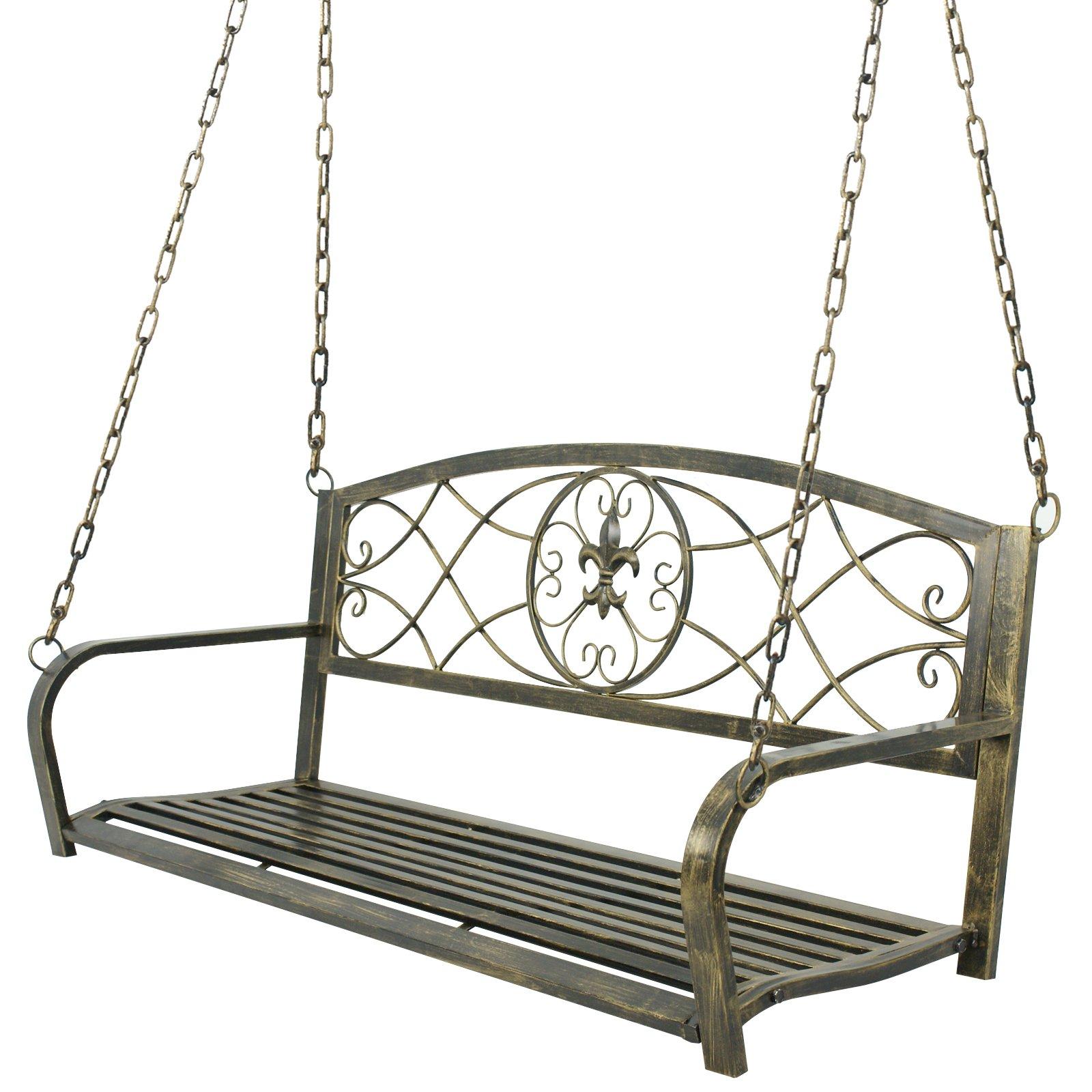 HomGarden Iron Porch Swing Patio Hanging Chair Bench Seat Outdoor Decor Garden Furniture
