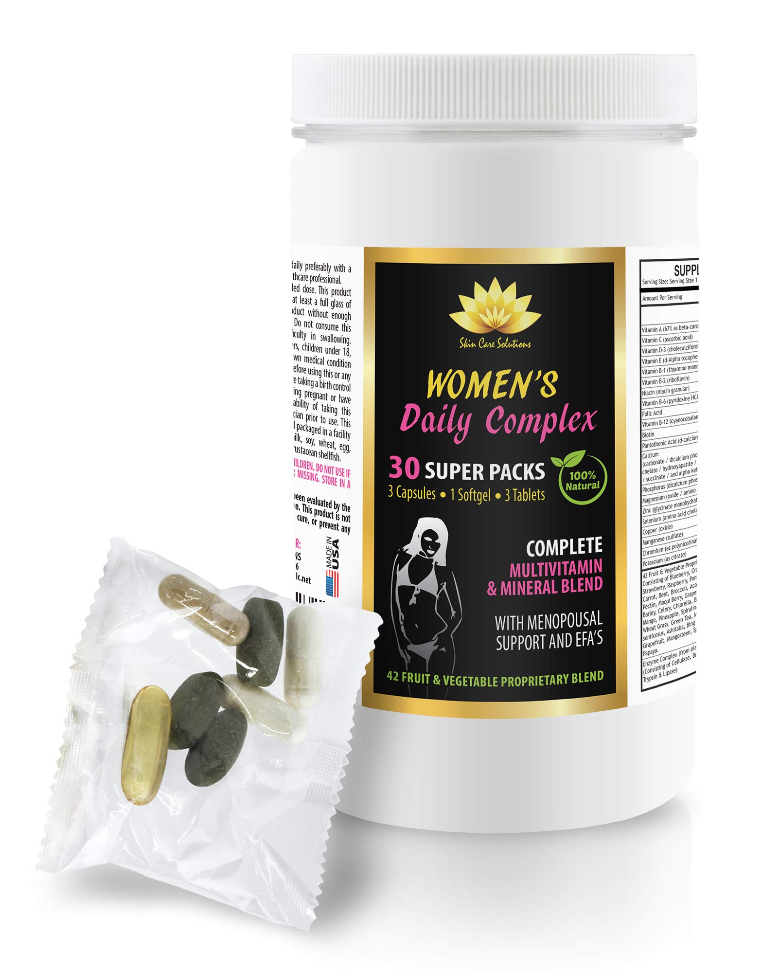 Women Menopause Supplements - Women's Daily Complex - 100% Natural - Black Cohosh and red Clover - 1 Can 30 Packs (210 Pills)