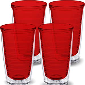 Red 4-pack 16 oz Insulated Tumblers, Made in USA, Great for Iced & Hot Drinks, 16 ounce Double Walled Cups, Premium Ruby Colored Tritan Tumblers by Homestead Choice