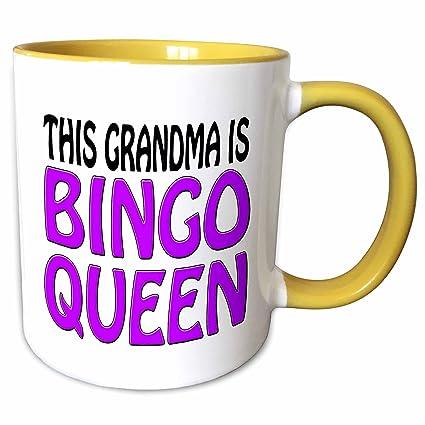 3drose Evadane Funny Quotes This Grandma Is Bingo Queen Purple 15oz Two Tone Yellow Mug Mug14977313