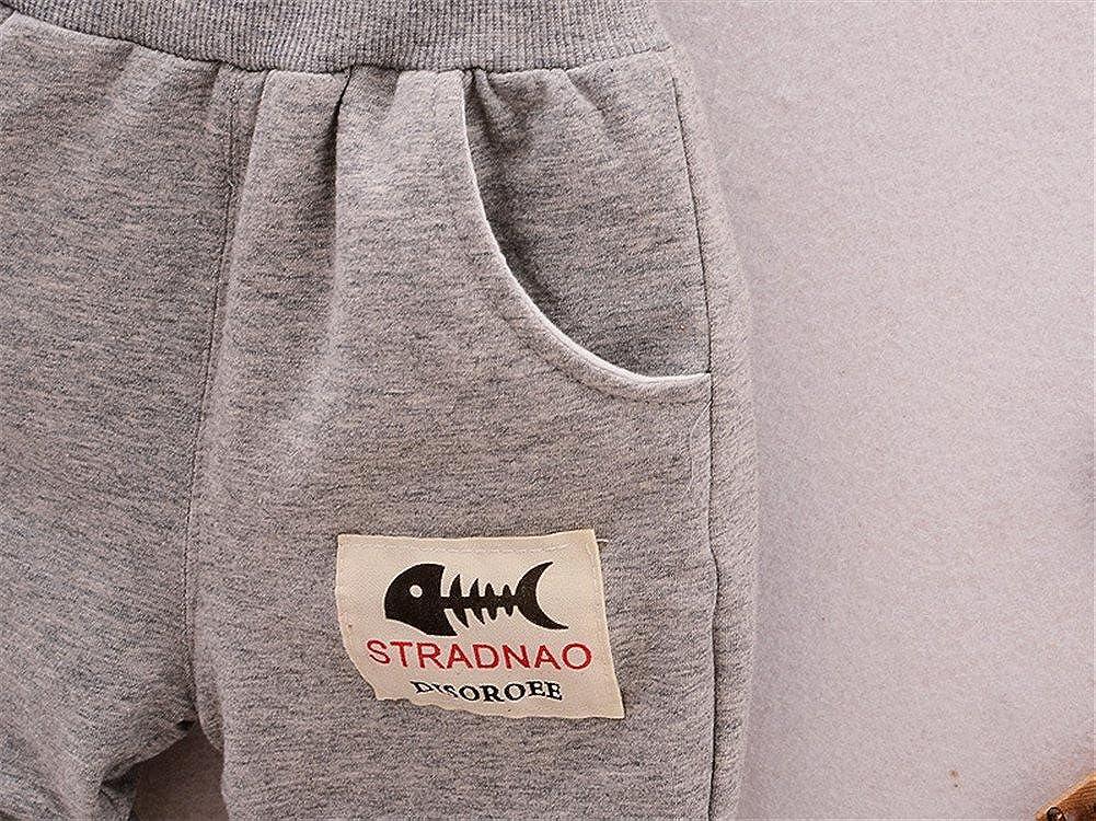 JIEYA Baby Boys Fish Bones Printed 3 Piece Clothing Set Outfits Coat T-Shirt Pants