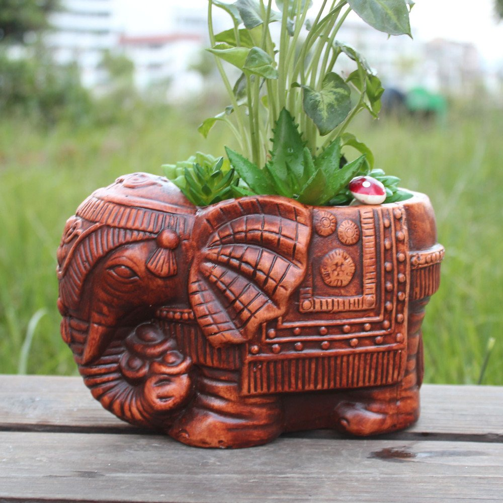 Ceramic Elephant Succulent Pot Flowerpot Cactus Plant Pot Container Planter Bonsai Pots With A Hole Perfect Gife Idea High Capacity 8.2 Inch x 5.1 Inch x 5.1 Inch