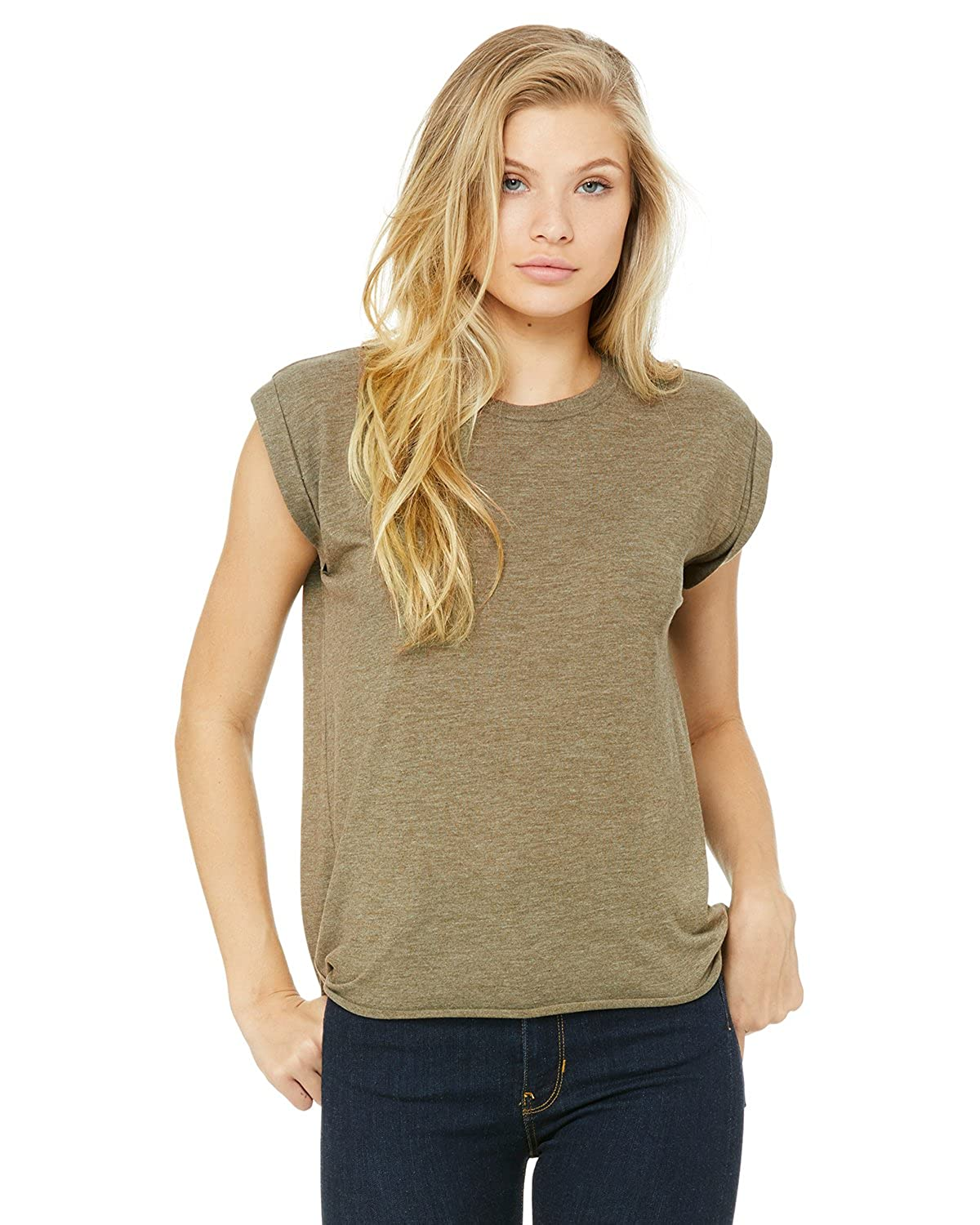 b34c223f8 Bella + Canvas Women's Flowy Muscle Tee with Rolled Cuff at Amazon Women's  Clothing store:
