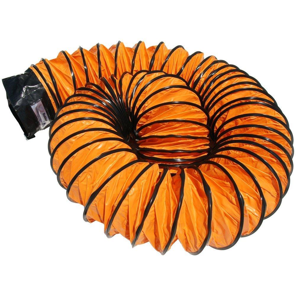 Rubber-Cal 01-191-12 Air Ventilator Orange Ventilation Duct Hose 12ID x 25 Length Hose Fully Stretched